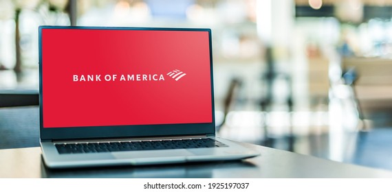 POZNAN, POL - JAN 6, 2021: Laptop computer displaying logo of Bank of America,  an American multinational investment bank and financial services holding company headquartered in Charlotte, N. Carolina