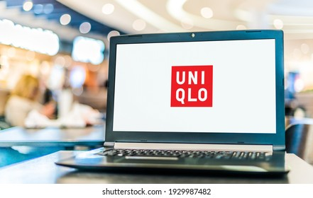 POZNAN, POL - JAN 6, 2021: Laptop computer displaying logo of Uniqlo, a Japanese casual wear designer, manufacturer and retailer