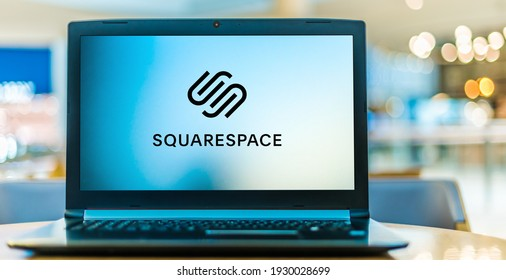 POZNAN, POL - JAN 6, 2021: Laptop computer displaying logo of Squarespace, Inc., an American company, that provides software as a service for website building and hosting