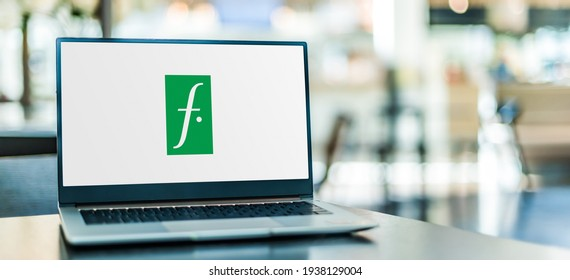 POZNAN, POL - JAN 6, 2021: Laptop computer displaying logo of Falabella, a multinational chain of department stores owned by Chilean multinational company S.A.C.I. Falabella