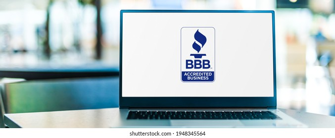POZNAN, POL - JAN 6, 2021: Laptop computer displaying logo of The Better Business Bureau, a nonprofit organization whose self-described mission is to focus on advancing marketplace trust
