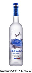POZNAN, POL - JUL 1, 2020: Bottle of Grey Goose, a brand of French vodka created in the 1990s by Sidney Frank, now owned by Bacardi