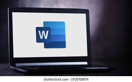 POZNAN, POL - JUL 11, 2020: Laptop computer displaying logo of Microsoft Word, a word processor developed by Microsoft