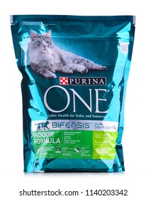 POZNAN, POL - JUL 20, 2018: Purina product,  global brand of pet food produced by Nestle Purina Petcare, a St. Louis, Missouri-based subsidiary of Nestle