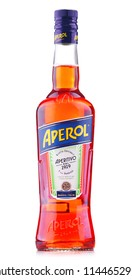 POZNAN, POL - JUL 20, 2018: Bottle of Aperol, an Italian aperitif made of gentian, rhubarb, and cinchona, It is produced by the Campari company.