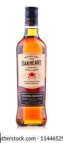 POZNAN, POL - JUL 20, 2018: Bottle of Oakheart Spiced Rum spirit drink, popular product of Bacardi Limited, headquartered in Hamilton, Bermuda,