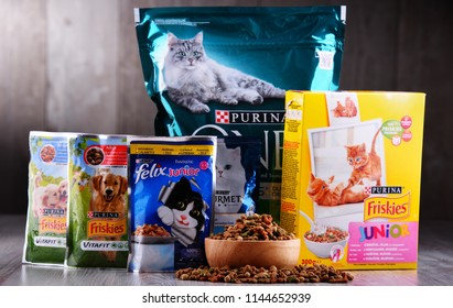 POZNAN, POL - JUL 20, 2018: Purina products,  global brand of pet food produced by Nestle Purina Petcare, a St. Louis, Missouri-based subsidiary of Nestle