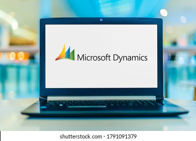 POZNAN, POL - JUL 25, 2020: Laptop computer displaying logo of Microsoft Dynamics, a line of enterprise resource planning (ERP) and customer relationship management (CRM) software applications