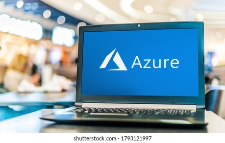 POZNAN, POL - JUL 25, 2020: Laptop computer displaying logo of Microsoft Azure, a cloud computing service  for building, testing, deploying, and managing applications and services