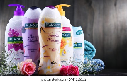 POZNAN, POL - JUL 4, 2019: Products of Palmolive, cosmetics trademark manufactured by American company Colgate-Palmolive. It was introduced in 1898 and is sold globaly.