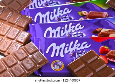 POZNAN, POL - JUN 15, 2018: Milka chocolates, a brand of chocolate confection which originated in Switzerland in 1825 and since 1990 has been manufactured by the Mondelez Int. (formerly Kraft Foods)