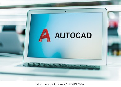 POZNAN, POL - JUN 16, 2020: Laptop computer displaying logo of AutoCAD, a commercial computer-aided design (CAD) and drafting software application, developed and marketed by Autodesk