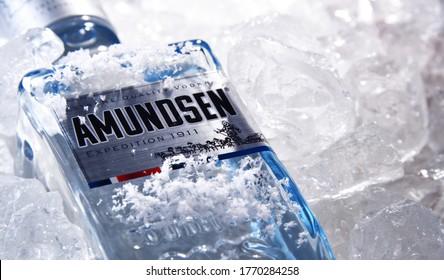 POZNAN, POL - JUN 18, 2020: Bottle of Amundsen Vodka, a brand of vodka produced by Arcus ASA, Norway's largest wholesaler of wine and liquor.