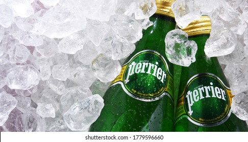 POZNAN, POL - JUN 18, 2020: Bottles of Perrier, a French brand of natural bottled mineral water sold worldwide and available in 140 countries.
