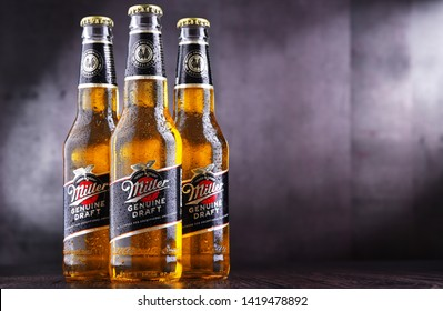 POZNAN, POL - JUN 5, 2019: Bottles of Miller Genuine Draft, the original cold filtered packaged draft beer, a product of the Miller Brewing Company owned by SABMiller