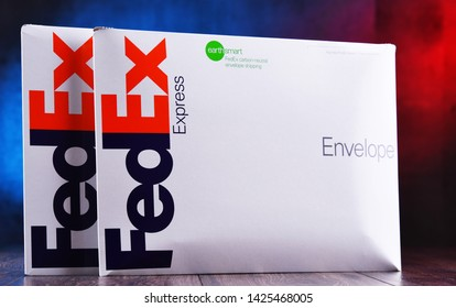 POZNAN, POL - JUN 6, 2019: Envelopes of FedEx, an American multinational courier delivery services company headquartered in Memphis, Tennessee.