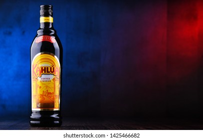POZNAN, POL - JUN 7, 2019: Bottle of Kahlua, a brand of Mexican coffee-flavored liqueur containing rum, corn syrup and vanilla bean, manufactured by French company Pernod Ricard