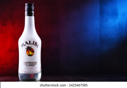 POZNAN, POL - JUN 7, 2019: Bottle of Malibu Rum, a flavored rum-based liqueur made with natural coconut extract, produced by West Indies Rum Distillery Ltd. on Barbados