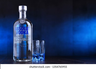POZNAN, POL - MAAR 22, 2019: Bottle of Absolut Vodka, a brand of vodka produced in Sweden. Owned by French group Pernod Ricard it is one of the largest brand of alcoholic spirits in the world