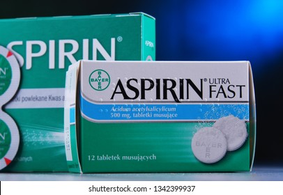 POZNAN, POL - MAR 14, 2019: Packages of Aspirin, brand of popular medication, the first and best-known product of Bayer, German multinational pharmaceutical company headquartered in Leverkusen