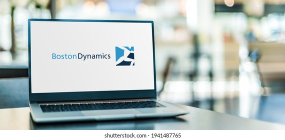 POZNAN, POL - MAR 15, 2021: Laptop computer displaying logo of Boston Dynamics, an engineering and robotics design company founded as a spin-off from the MIT