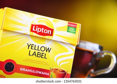 POZNAN, POL - MAR 28, 2019: Package of Lipton Yellow Label, a famous brand of tea produced by Lipton since 1890, now sold in over 150 countries worldwide by Anglo-Dutch multinational company Unilever