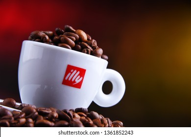 POZNAN, POL - MAR 29, 2019: Cup of Illy coffee, a brand of Italian coffee roasting company that specializes in the production of espresso. Founded by Francesco Illy in 1933.