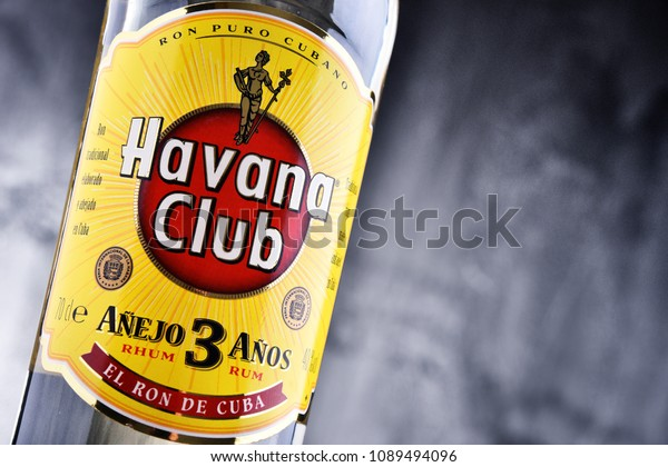 POZNAN, POL - MAR 30, 2018: Bottle of Havana Club, a brand of rum created in Cuba in 1934, now one of the best-selling rum brands in the world