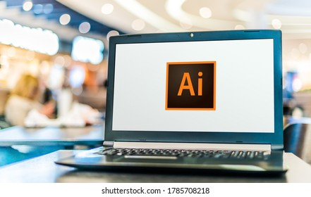 POZNAN, POL - MAY 21, 2020: Laptop computer displaying logo of Adobe Illustrator, a vector graphics editor developed and marketed by Adobe Inc