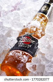 POZNAN, POL - MAY 28, 2020: Bottle of Miller Genuine Draft, the original cold filtered packaged draft beer, a product of the Miller Brewing Company owned by SABMiller