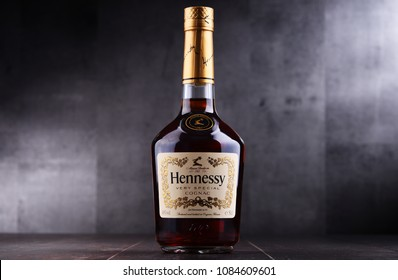 POZNAN, POL - MAY 3, 2018: Bottle of Hennessy, a brand of famous cognac from Cognac, France