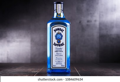 POZNAN, POL - MAY 3, 2018: Bottle of Bombay Sapphire, a brand of gin distributed by Bacardi. Introduced to the market in 1987 by International Distillers and Vintners.
