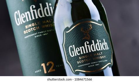 POZNAN, POL - MAY 3, 2018: Bottle of Glenfiddich, the world's best-selling single-malt whisky, owned and produced by William Grant and Sons in Dufftown, Scotland