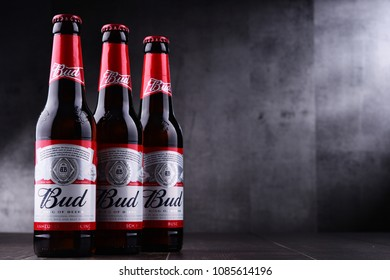 POZNAN, POL - MAY 3, 2018: Bottles of Bud beer, an American-style pale lager produced by Anheuser-Busch, introduced in St. Louis, Missouri in 1876.