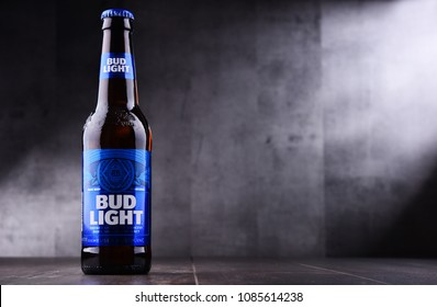 POZNAN, POL - MAY 3, 2018: Bottle of Bud Light beer, an American light beer, produced by Anheuser-Busch, introduced in 1982.