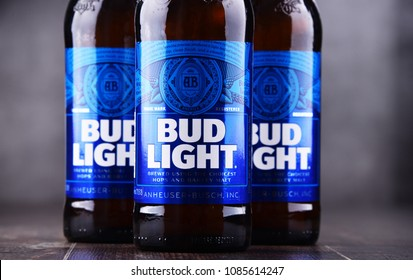 POZNAN, POL - MAY 3, 2018: Bottles of Bud Light beer, an American light beer, produced by Anheuser-Busch, introduced in 1982.