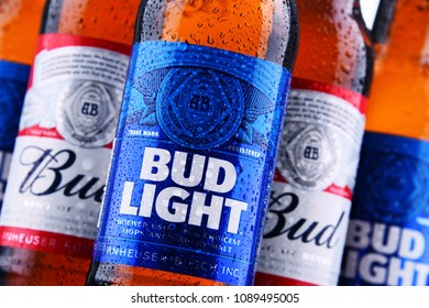 POZNAN, POL - MAY 3, 2018: Bottles of Bud and Bud Light, popular American beers, produced by Anheuser-Busch.