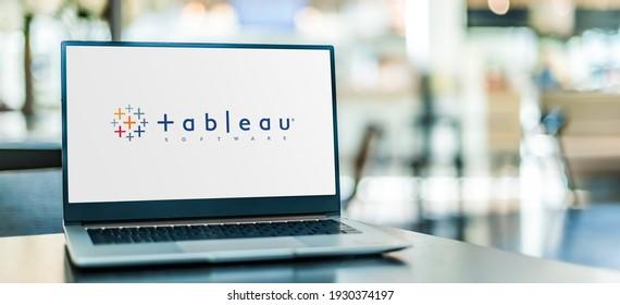 POZNAN, POL - NOV 12, 2020: Laptop computer displaying logo of Tableau Software, an interactive data visualization software company