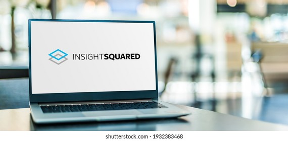 """POZNAN, POL - NOV 12, 2020: Laptop computer displaying logo of InsightSquared, the """"operating system"""" for high-growth sales teams"""