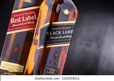 POZNAN, POL - NOV 15, 2018: Bottles of Johnnie Walker, the most widely distributed brand of blended Scotch whisky in the world with sales of over 130 million bottles a year.
