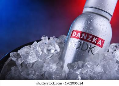 POZNAN, POL - NOV 21, 2019: Bottle of Danzka, a brand of Danish vodka owned by Belvedere SA (France)