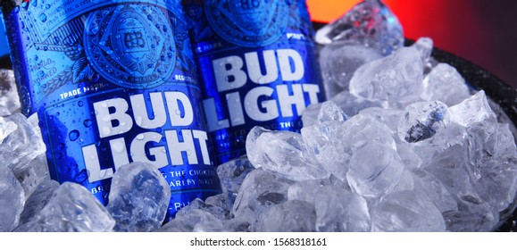 POZNAN, POL - NOV 22, 2019: Bottles of Bud Light beer, an American light beer, produced by Anheuser-Busch, introduced in 1982.