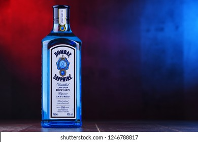POZNAN, POL - NOV 29, 2018: Bottle of Bombay Sapphire, a brand of gin distributed by Bacardi. Introduced to the market in 1987 by International Distillers and Vintners.