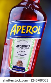 POZNAN, POL - NOV 29, 2018: Bottle of Aperol, an Italian aperitif made of gentian, rhubarb, and cinchona, It is produced by the Campari company.