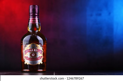 POZNAN, POL - NOV 29, 2018: Bottle of Chivas Regal 12, a blended Scotch whisky made from whiskies matured for at least 12 years, produced by Chivas Brothers in Keith, Scotland