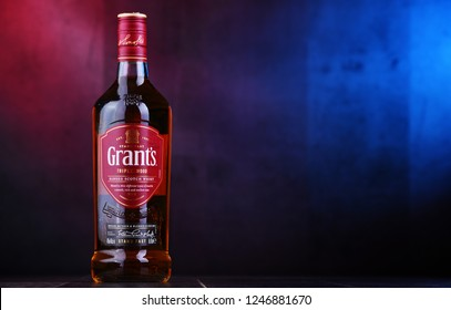 POZNAN, POL - NOV 29, 2018: Bottle of Grant's whisky, the oldest family-owned blended whisky, bottled by William Grant & Sons in Scotland, currently sold in over 180 countries.