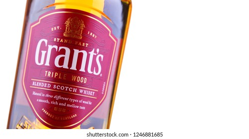 POZNAN, POL - NOV 29, 2018: Bottle of Grant's whisky, the oldest family-owned blended whisky bottled by William Grant & Sons in Scotland, currently sold in over 180 countries.