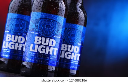 POZNAN, POL - NOV 29, 2018: Bottles of Bud Light beer, an American light beer, produced by Anheuser-Busch, introduced in 1982.