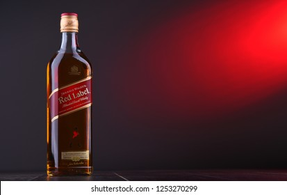 POZNAN, POL - NOV 29, 2018: Bottle of Johnnie Walker, the most widely distributed brand of blended Scotch whisky in the world with sales of over 130 million bottles a year.