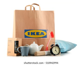 POZNAN, POL - NOV 3, 2016: Founded in Sweden in 1943 IKEA is world's largest furniture retailer, operates 384 stores in 48 countries and sells about 12,000 products (appliances and home accessories)